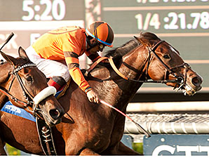 Alexis Tangier wins the Unzip Me Stakes.