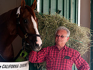 California Chrome and Art Sherman at Pimlico, May 13, 2014.