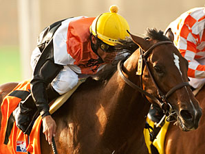 Banned wins the Del Mar Derby 2011.