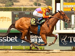 Beholder wins the 2013 Santa Anita Oaks.
