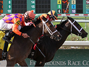 Believe You Can wins the 2012 Fair Grounds Oaks.