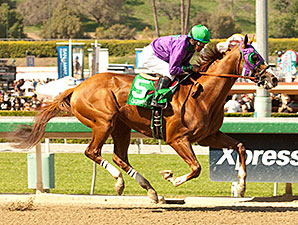California Chrome wins the 2014 Santa Anita Derby.