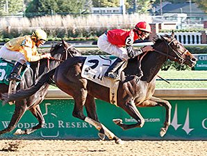 Clever Beauty wins the Rags to Riches Stakes.