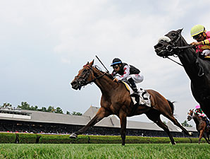Daring Dancer wins the 2014 Lake George Stakes at Saratoga.