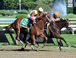 Designer Legs wins the Adirondack Stakes.