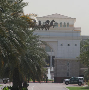 The entrance to Sheikh Mohammed's palace. (Photo Credit: Michele MacDonald)