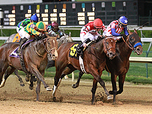 Embellishing Bob (center) was awarded the 2014 Derby Trial win following disqualification of Bayern (inside).