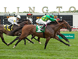 Finnegans Wake wins the 2014 Arlington Handicap.