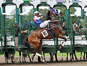 Fly Above #13 breaks prematurely leaping from the starting gate on June 14, 2014.