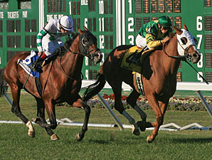 Get Serious wins the 2010 Red Bank Stakes.
