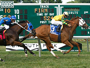 Get Serious wins the 2012 Red Bank Stakes.
