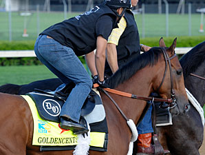 Goldencents on the track at Churchill Downs 4/28/2013.