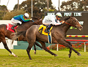Grandeur wins the 2012 Hollywood Turf Cup.