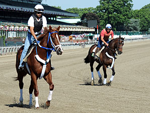 Guyana Star Dweej (L) and Atigun, at Belmont, June 1, 2012.