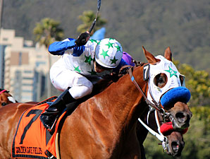 Hudson Landing wins the 2012 San Francisco Mile.