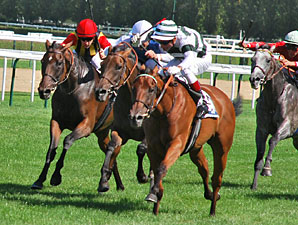 Immortal Verse (green/white cap) wins the Prix Jacques Le Marois, upsetting Goldikova (solid white cap)