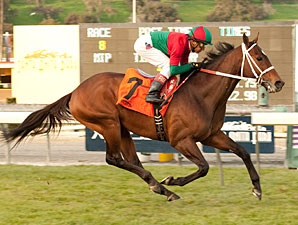 Jeranimo wins the San Gabriel Stakes.