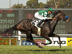 Lady of Shamrock wins the 2012 American Oaks.
