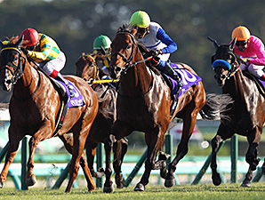 Lord Kanaloa wins the Sprinster Stakes with jockey Yasunari Iwata.