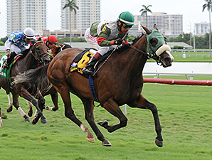 Madame Giry wins the 2014 Bob Umphrey Turf Sprint Stakes.