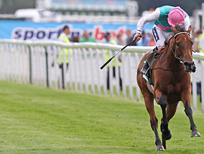 Midday finishes second to Twice Over in the Juddmonte International Stakes.