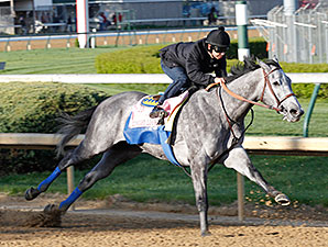 Midnight Lucky with Mike Smith works at Churchill Downs 4/22/2013.