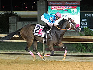 Miss Behaviour wins the 2014 Charles Town Oaks.