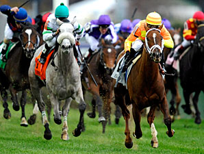 More Than Real wins the 2010 Breeders' Cup Juvenile Turf.