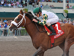 Mucho Macho Man wins the 2012 Gulfstream Park Handicap.