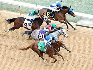 Mufajaah wins the Bayakoa Stakes.