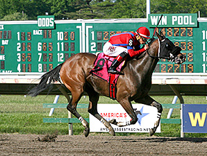 Natalie Victoria wins the Monmouth Beach Stakes.