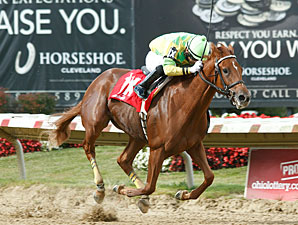 Needmore Flattery wins the 2013 John W. Galbreath Stakes.