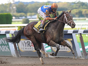 Overanalyze wins the 2012 Futurity.