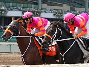 Pants On Fire, right, and Ruler On Ice, left, work towards the Haskell 7/24/2011.