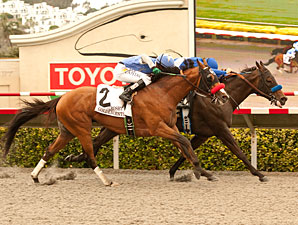 Points Offthebench wins the Bing Crosby Stakes.