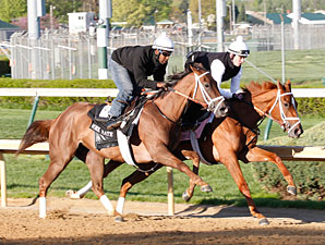 Princess of Sylmar (inside)  and Fusaichiswonderful Churchill Downs, April 20, 2013.