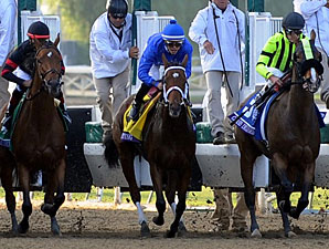 Questing exits the starting gate in the BC Ladies' Classic.