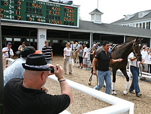 Rachel Alexandra schools at Monmouth on July 23, 2010.