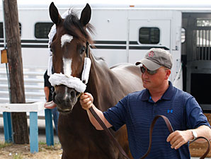 Rachel Alexandra arrives at Monmouth, July 20, 2010.