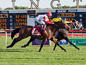 Real Solution (left) wins the Arlington Million via DQ over The Apache.