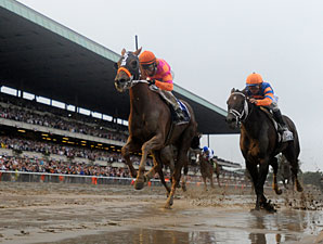 Ruler On Ice runs down the stretch in the Belmont Stakes.