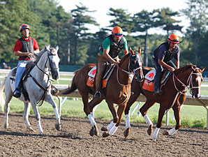 Ruler On Ice (center) and Nacho Friend (rt) at Monmouth, August 24, 2011.