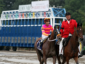 Ruler On Ice walks past the starting gate after the Belmont Stakes.