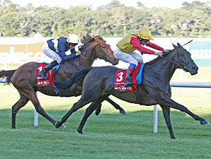 Snow Fairy wins the 2012 Irish Champion Stakes.