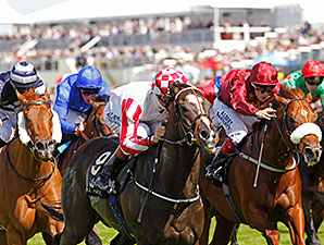 Sole Power (checkered cap) wins the 2014 King's Stand Stakes.