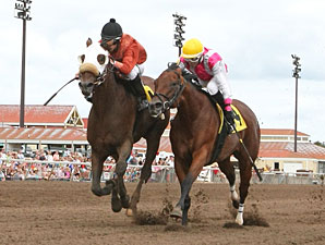 Somerset Swingers, left, winning the Belle Notte Minnesota Distaff Sprint Championship.
