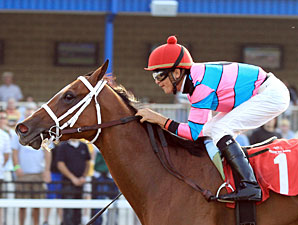 Speedacious wins the 2011 Satin and Lace Stakes.