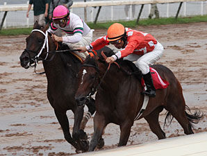 Superior Storm (right) with Lus Quinonez up toughs it out over Miss Bean Wah ridden by Curt Bourque  for the win in the LA Cup Distaff at Louisiana downs.