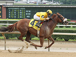 Sweet Cassiopeia wins the 2014 West Virginia Secretary of State Stakes.