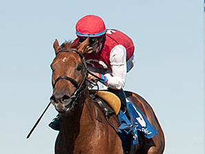 Unspurned wins the 2015 Whimsical Stakes.